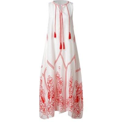 Girl Women's Vintage Tassel Long Dresses Party Sleeveless Loose Bohemian