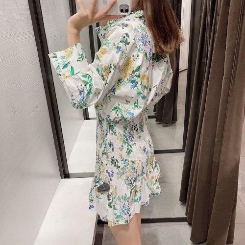 Women Elegant Vintage Dress Long Sleeve Mini Dress Waist Dresses