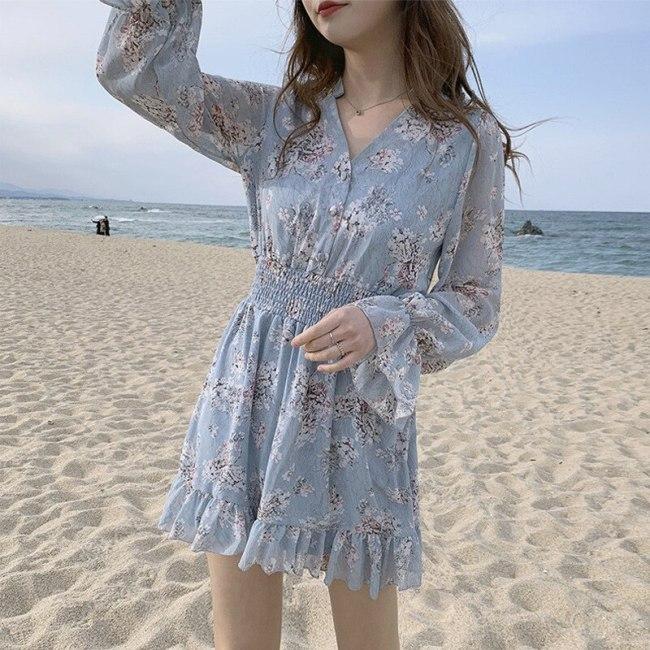 Sexy V-Neck Women Summer Dress Vintage Print Chiffon Slim Ruffled Beach Holiday Dress