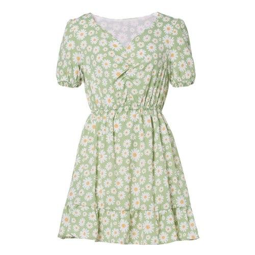 Girl Summer Short-sleeved V-neck Slim Sundress Female Vintage Beach Dress