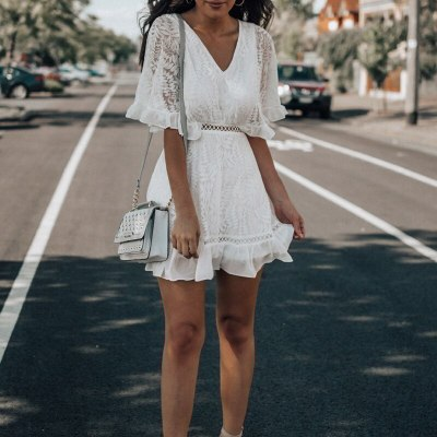 Girl Summer Fashion V-Neck Hollow Out Lace A-Line Mini Dress