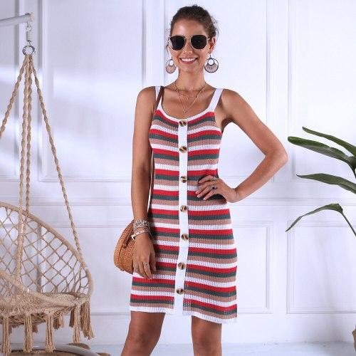 Beach Vacation Casual Knitted Sleeveless Dress