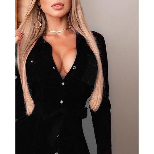 Black Sexy Deep V Women PU Leather Mini Dress Evening Party Winter Long Sleeve