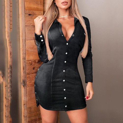 Black Sexy Deep V Women PU Leather Mini Dress Evening Party Winter Long Sleeve