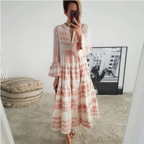 Fashion Dress Women V-neck Dress for Beach Vacation Casual Loose Ladies Dress