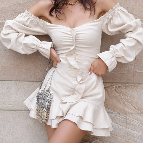 Summer Dress Women Bodycon Zipper Party Sexy Long Sleeve Mini Elegant Dresses