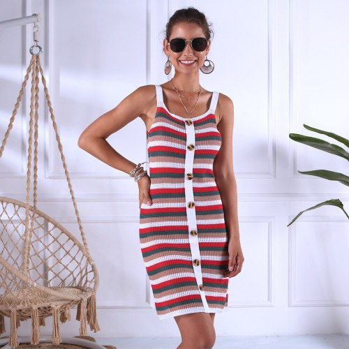 Beach Vacation Casual Knitted Sleeveless Dress