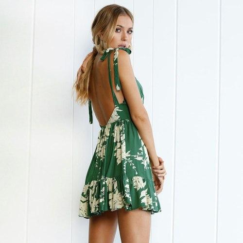 Girl Vintage Mini Dress Sexy Boho Ladies Fashion V-Neck Backless Dresses Women