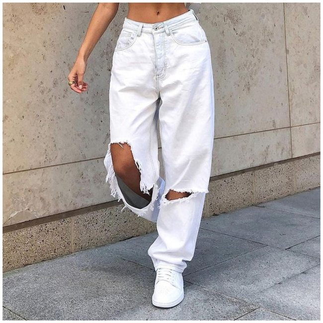 Boyfriend Baggy Ripped Jeans Women's Loose Vintage Pants Casual Female Trousers