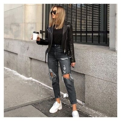High Waist Slimming Women's Jeans Ripped Straight Trousers Fashion Sexy Denim Pants