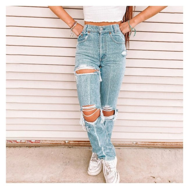 High Waist Ripped Women Jeans Denim Pants Sexy Casual Ladies Female Trousers