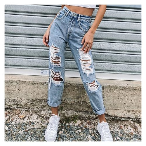 Ladies Straight Ripped Trousers Women's Jeans Slim High Waist Denim Pants Casual