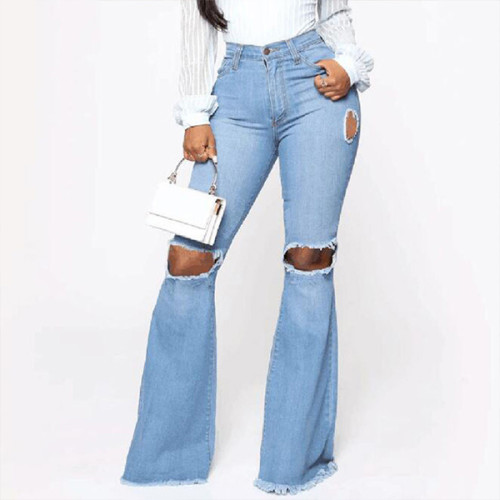 High Waist Women's Boyfriends Fashion Hole Denim Pants Casual Vintage Loose Jeans Trousers