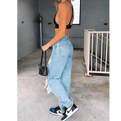 High Waist Street Wear Classic Jeans Jeans Ripped Slim Pants Ladies Trousers