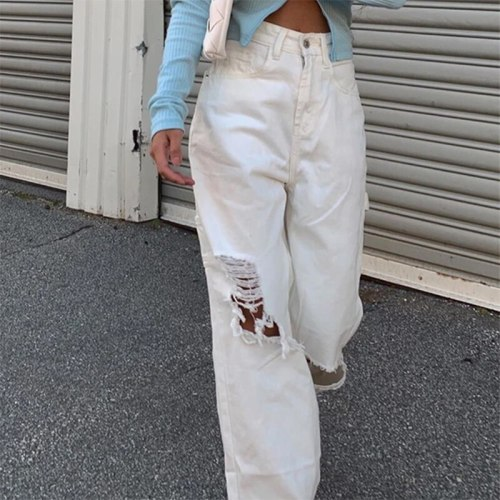 High Waist Ripped Jeans Pants Women Fashion Jeans Streetwear Vintage Casual Classic Trousers