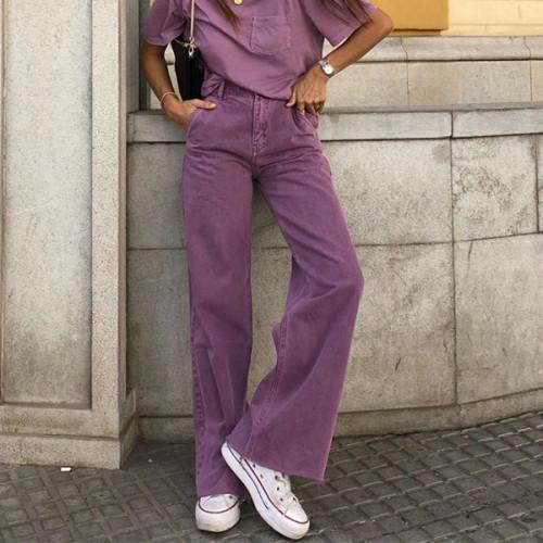 Women High Waist Boyfriend Jeans Fashion Purple Women Pants Lady Flare Trousers