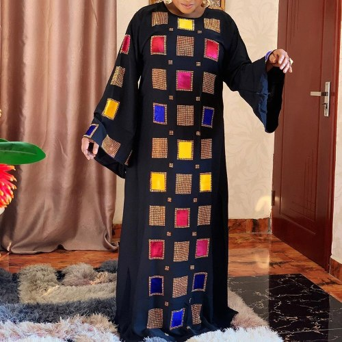 Women Muslim Casual Plus Size Flare Sleeve Fall Maxi Dress