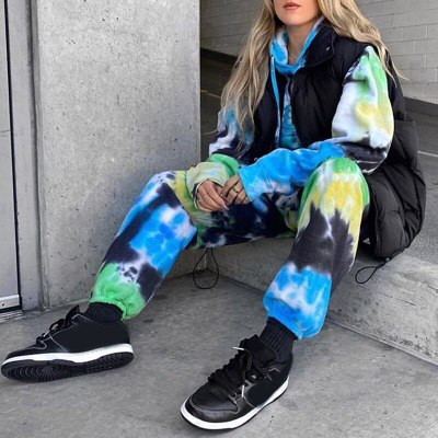 Tie Dye Print Women's Pants Long Ladies Pant Streetwear Casual Female Clothes