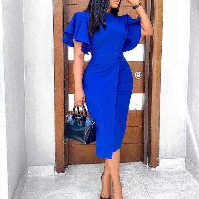 Elegant Women Party Bodycon Dress Ruffles Sleeve Midi Pencil Dress High Waist Vintage