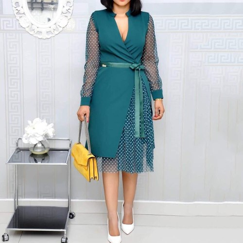 Elegant Women Dress Lady Retro Female Midi Dresses Summer Dress