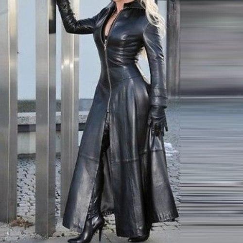 Leather Long Dress Women Jacket Coat Fashion Plus Size Black PU Ladies Long Dress