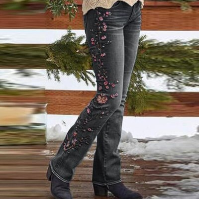 Fashion Embroidery Retro Style Pants Jeans Women's Trousers Casual