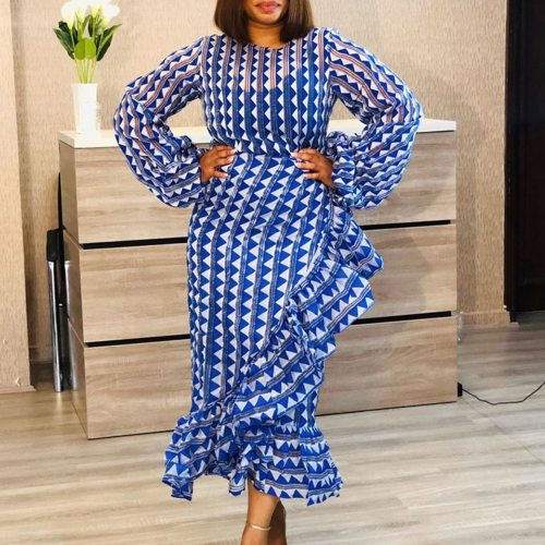 Long Dress Chic Long Sleeve Bodycon Women Maxi Plus Size Party Dress