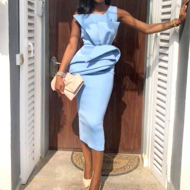 Sleeveless Women Ruffles Pencil Dress Lady Elegant Midi Dresses Vintage Dress