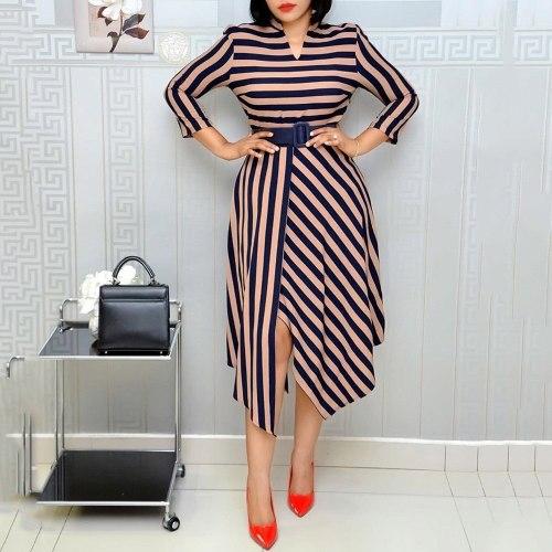 Office Lady Plus Size Dress Fashion Elegant Best Sellers Split V-neck Belt