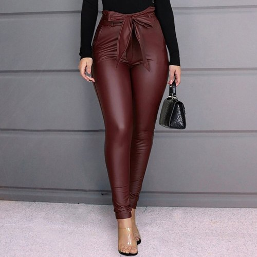 Casual PU Leather Elegant Office Ladies High Waist Skinny Faux Leather Pants Trouser Plus Size