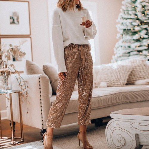 High Waist Women's Pants Party Female Long Trousers Casual Fashion Streetwear Ladies