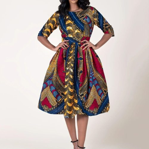 Vintage Dress Women Elegant Lady Office Retro Midi Dresses