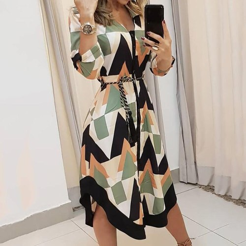 Office Ladies Dress Casual Shirt Dresses Women Plus Size Midi Dress