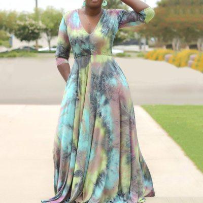 Plus Size Women Long Dress Tie Dye V Neck Office Ladies Maxi Casual Dress