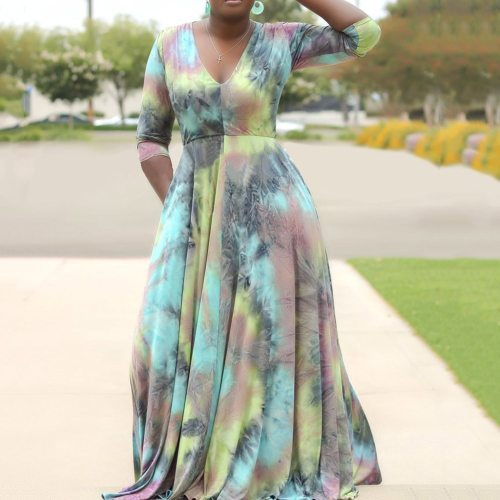 Plus Size Women Long Dress Tie Dye V Neck Office Ladies Maxi Casual Dress