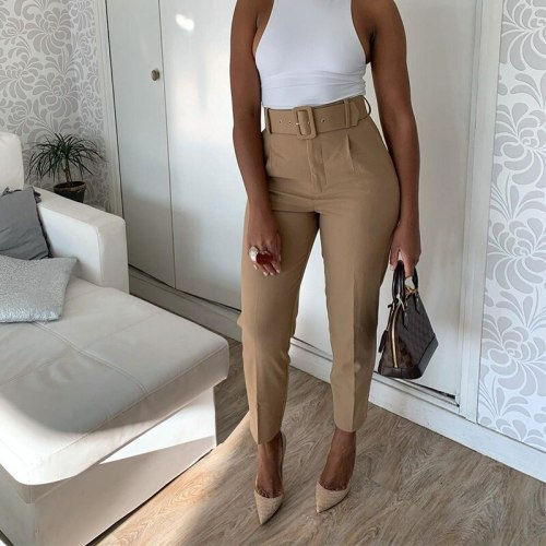 High Waist Long Women's Pants Pockets Office Lady Trousers Solid Casual Female Pant