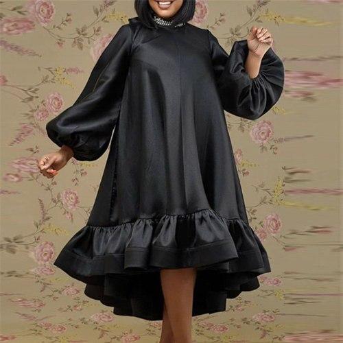 Long Sleeve Dress For Women Ruffles Ladies Oversized Loose Casual Dress Midi
