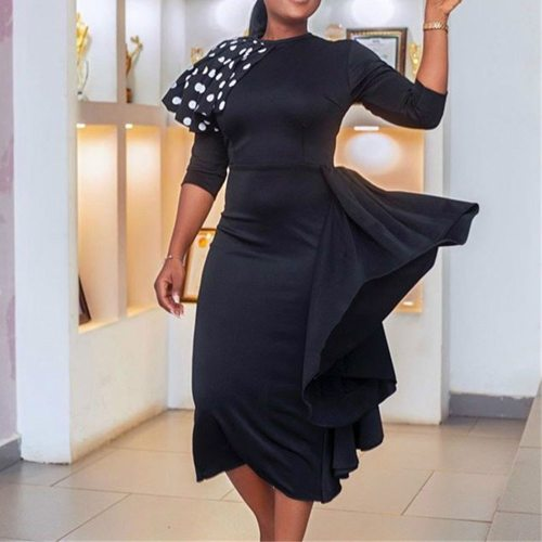 Elegant Lady Midi Office Dress Irregular Women Dresses