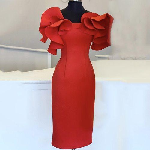 Elegant Off Shoulder Bodycon Midi Dress Fashion Ruffles Sleeve Evening Party Dresses