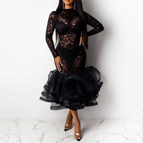 Sexy Women Plus Size Lace Rufffle Midi Dress Party Female