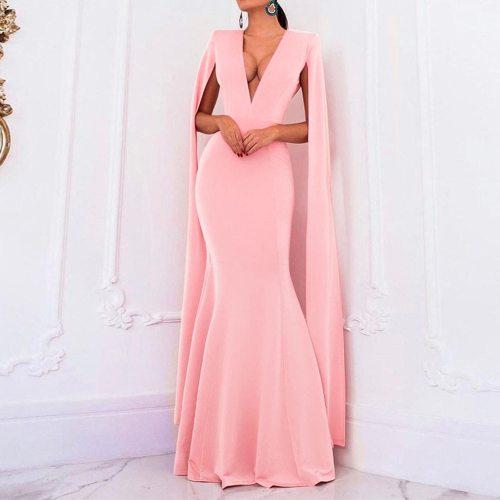 Sexy V Neck Backless Evening Party Dress Long Sleeve Women Dress Maxi Dress