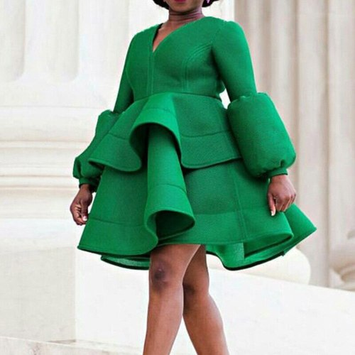 Cute Ruffle Dress Women Lantern Long Sleeve V Neck Female Plus Size Mini Dresses