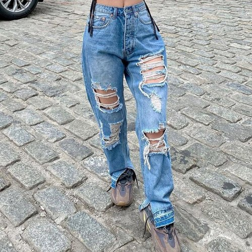 Jeans Woman High Waist Ripped Pants Casual Skinny Jeans Denim Vintage Trousers