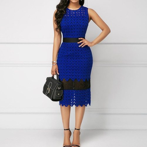 Sexy Lace Blue Pencil Dress Elegant Office Ladies Bocydon Women Evening Party Dresses Female