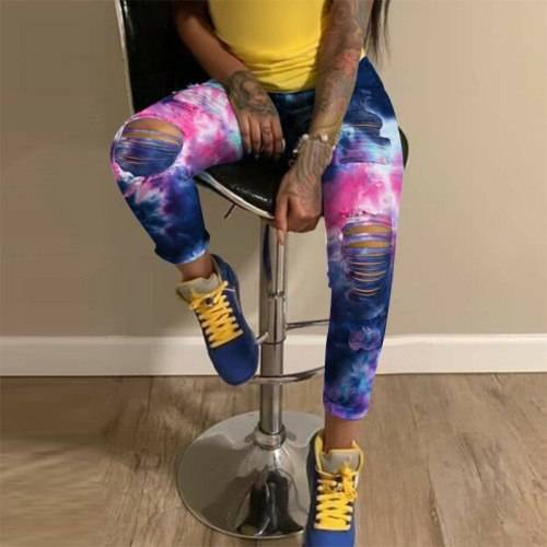 Ripped Jeans For Women Jeans High Waist Ripped Tie Dyed Trousers Fashion Pants