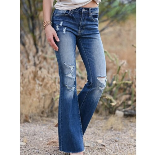 Women's Jeans Ripped Jeans Fashion Leg Pants Women's Denim Trousers