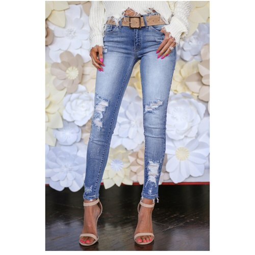 Women High Waist Ripped Denim Pants Skinny  Jeans Trousers Laides Classic