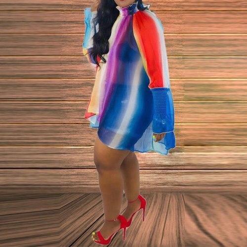 Casual Off Shoulder Long Sleeve Plus Size Dress Summer Mini Dresses Loose