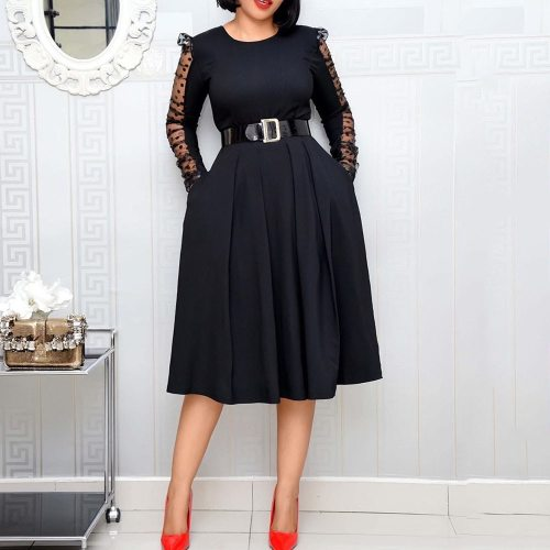 Elegant Long Sleeve Dress Plus Size Dresses For Women Ladies Clothes Midi