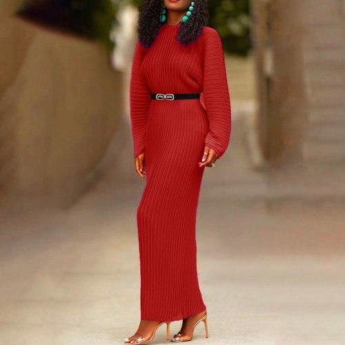 Sweater Dress Women Long-Sleeve Oversized Casual Plus Size Female Fall Knitted Maxi Dress